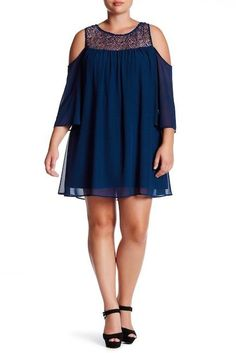 Want & Need Cold-Shoulder Shift Dress (Plus Size)