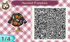Animal Crossing: New Leaf - QR Codes (Haunted Pumpkins) Animal Crossing Qr Codes Clothes, Animal Crossing Pocket Camp, Animal Crossing Game, Post Animal, My Animal, Blog Harry Potter, Physical Education Book, Art Café, Library Book Displays