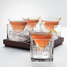 Cubist martini set - so fun! Could be a great presentation great for panna cotta or other cold dessert