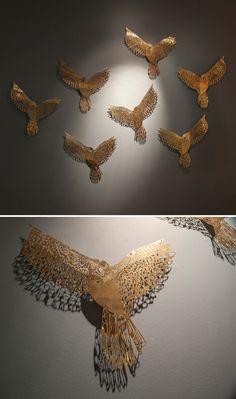 claire brewster - birds cut from brass So extraordinary I don't even have words. Modern Sculpture, Abstract Sculpture, Sculpture Art, Bird Art, Installation Art, Love Art, Metal Art, Creative Art, New Art