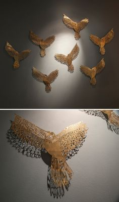 Seriously in love with these acid-etched lace-like bronze birds by artist @Claire2122 via @JealousCurator