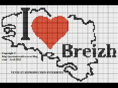 Bretagne - breizh - carte - point de croix - cross stitch - Blog : http://broderiemimie44.canalblog.com/