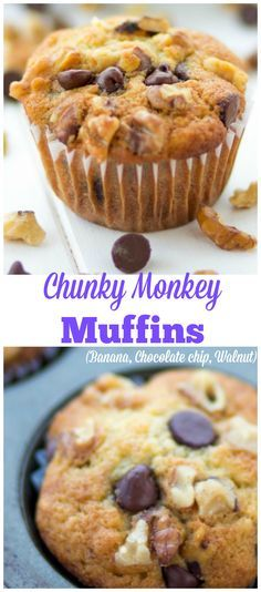 Chunky Monkey Muffins. Amazing muffins made with Banana, chocolate chips and walnuts. Such an easy to make recipe that is great for Breakfast!