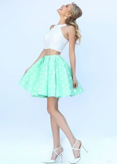 Fashion Cheap Short Two Piece Ivory Mint High Neck Beaded Homecoming Dress - But in pink.