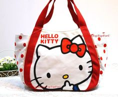 9d3e0e1b88 Large Sanrio Hello Kitty Canvas Tote Shopping Shoulder Bag Handbag Purse  wide 20