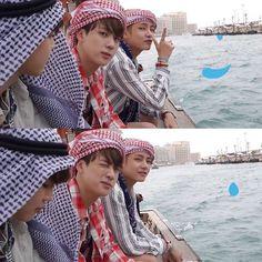 Jin with V and Jimin Bts Taehyung, Bts Jin, Bts Bangtan Boy, Foto Bts, Bts Photo, Jikook, Seokjin, Namjoon, Bts Summer Package 2016