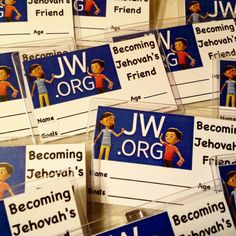 Becoming Jehovah's Friend badges I made to give to kids to wear in addition to the Convention badge at our upcoming International Convention. They can show their age and goals! Idea credit goes to tago Thanks May! The kids are going to love this! Caleb Y Sofia, Caleb And Sophia, Jw Printables, Jw Convention, Pioneer Gifts, Jw Gifts, Gifts For Brother, Jehovah's Witnesses, Bible Verses