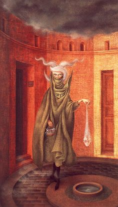 Woman Leaving the Psychoanalyst's Office, 1960. Varo explained that, as the woman leaves she drops the ghost of her father into the well. A layer of her veil falls away. She's still carrying a basketload of old crap, but it's one item lighter now.