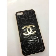 Designer Leather Chanel iPhone 5 Case - Black Flower