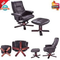 Recliner Seat Chair and Ottoman Lounge Leisure PU Leather Home Furniture Decor #Goplus