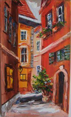 CITYSCAPE Impasto Original Oil Painting Europe Artist RED Town Street Flowers #ImpressionismImpastoModernArtContemporary