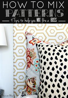 How to reupholster a headboard with a curtain panel - Guestroom revamp - pattern play pillows - floral - dalmation - hexagon - This is our Bliss Mixing Patterns Decor, Pattern Mixing, Fabric Patterns, Sewing Patterns, Boho Home, Textiles, Eclectic Decor, Mixing Prints, Panel Curtains