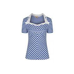 Top Tee Shirt Pin-Up Rétro Rockabilly Rosaline Mode D'inspiration Vintage, Tops Vintage, Vintage Ladies, Mode Rockabilly, Blue Stripes, Stripe Top, Shirt Pins, Tee Shirt, 1950s Outfits