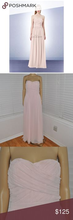 BILL LEVKOFF Petal Pink Chiffon Formal Gown 1212 Bill Levkoff style # 1212 size: 10 color: Petal Pink  Chiffon strapless gown. Criss-cross ruched adorns the bodice. Soft gathers surround the skirt. Attached corset.  @cjrose25  More formal dresses in my Posh store. Bill Levkoff Dresses Prom