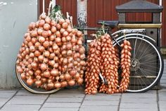 Bicycle loaded with fresh onions and shallots