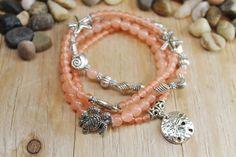 Seabreeze bracelet (set of 4), coral jade bracelets, stackable bracelets, summer bracelets, yoga jewelry, zen jewelry