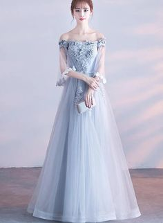 Elegant Grey Tulle Long Party Dress Off Shoulder Bridesmaid Dress - - Elegant Grey Tulle Long Party Dress Off Shoulder Bridesmaid Dres – BeMyBridesmaid Source by cilenealba Lace Evening Dresses, Elegant Dresses, Pretty Dresses, Beautiful Dresses, Formal Dresses, Dresses Dresses, Off Shoulder Bridesmaid Dress, Bridesmaid Dresses, Off Shoulder Evening Dress