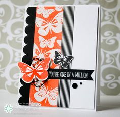 Clearly Besotted - Butterfly Wishes Stamps and Dies, Many Mini Messages, Scalloped Edge Die, Ripe Persimmon Distress Ink, Washi Tape, White and Clear Embossing Powder, I scrap my way: