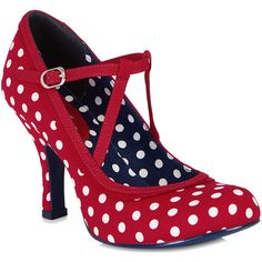 Ruby Shoo JESSICA Vintage Polka DOTS Punkte 40s T-Strap Pumps... ❤ liked on Polyvore featuring shoes, pumps, polka dot shoes, t-strap shoes, vintage t strap shoes, t bar pumps and t-bar shoes