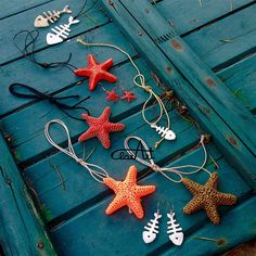 3d Pen sea jewels: Necklaces and earings with starfishes and fish bones ClarArt - creations & ideas: Aria di mare..