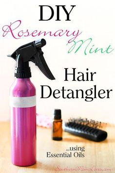 DIY Rosemary & Mint Hair Detangler Spray {Mommy & Me Homemade Spa Day Series} made with Essential Oils!