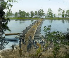 After the war, the occupied southern states were rebuilt by the Union over the course of twenty years known as the Reconstruction Era. Pictured: Union soldiers build a pontoon bridge in Virginia.