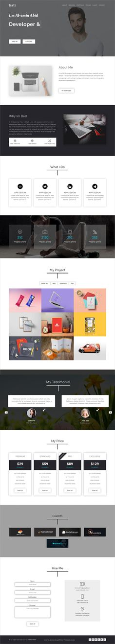 Hati is clean and modern design responsive #bootstrap template for #freelancer and agencies #portfolio showcase website download now..