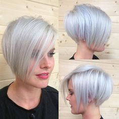 """Emily Anderson on Instagram: """"My favorite blonde bombshell came in today for another change up. She wanted less hair to deal with but still some length (aka not as short as her first pixies). We decided on a more drastic #undercut. She let me play around after so here is style number 1. #platinumblonde #shorthair #shorthairideas #silverhair #iceyblonde #pixie #pixieoftheday #nothingbutpixies #texture #starightnsleek #olaplex #emilyandersonstyling"""""""