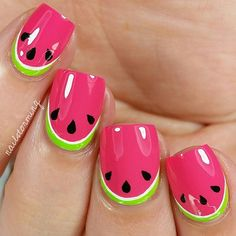 Cute watermelon nails for the watermelon season design by @NailStorming #Padgram