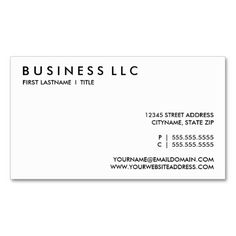 Plain Black And White Business Card Black And White Business