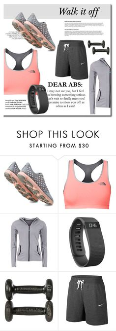 """""""Walk it off"""" by mslewis6 ❤ liked on Polyvore featuring Geox, The North Face, Green Lamb, Fitbit and NIKE"""