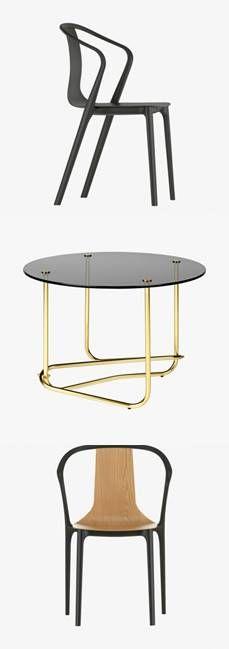 """Chaise et fauteuil """"Belleville"""" #Vitra, table """"Matégot"""" #Gubi. #design #home #maison #leBonMarche #tendance #decoration"""