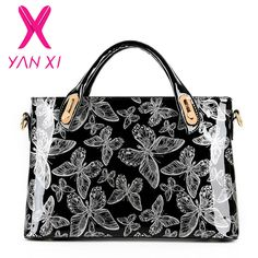 YANXI 공장 콘센트 나비 특허 가죽 어깨 빈티지 핸드백 하드 메신저 여성 가방 디자이너 핸드백 고품질