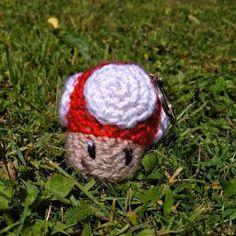 Crocheted keychain Mario 1UP Mushroom cute amigurumi crochet