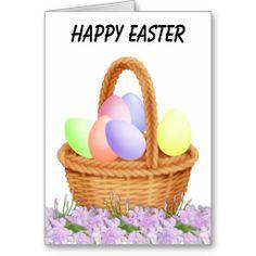 Wicker Easter Basket Greeting Card ......... http://www.zazzle.com/wicker_easter_basket-137181626364664038?rf=238631258595245556