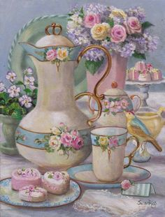 """Susan Rios Keepsake Romantic Tea Art """"A Place to Dream"""" 8 x 10 for table or wall. Susan Rios has been a professional artist for over 30 years. Decoupage Vintage, Decoupage Paper, Shabby Vintage, Foto Poster, Tea Art, Pretty Pastel, Belle Photo, Tea Time, Tea Cups"""
