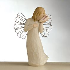 #WillowTree Thinking of You Figurine. Sometimes, just knowing you are in someone's thoughts is one of life's sweetest blessings. With one hand over her #heart and the other holding a conch #shell expectantly to her ear, the Thinking of You angel expresses #emotions that words cannot describe – missing somebody so much it hurts, wishing they knew how often you think of them, longing for home like you never dreamed possible. #ThinkingOfYou #Angel