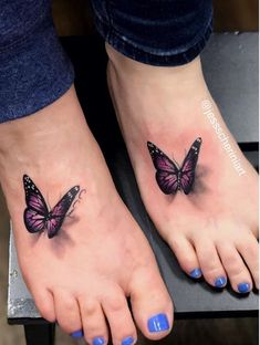 A pair of butterflies by  for the gorgeous  and her beautiful mum Jane! Thanks girls! Mother And Daughter Tatoos, Tattoos For Daughters, Purple Butterfly Tattoo, Butterfly Tattoo Designs, Elegant Tattoos, Beautiful Tattoos, Foot Tattoos For Women, Small Tattoos, Mother Tattoos