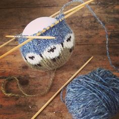 "This mornings ""work"" - so much to to do but knitting this sheep bauble was so much more appealing. #knitting"