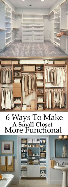 6 Ways To Make A Small Closet More Functional Small Closet Design, Closet Ideas For Small Spaces, Closet Small, Small Closet Storage, Diy Closet Shelves, Maximize Closet Space, Master Closet Design, Make A Closet, Big Closets
