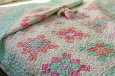 {Strip piecing} the granny square quilt using a jelly roll at Moda Bake Shop