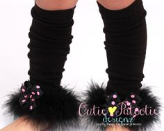 Leg Warmers - Black and Pink - Curious Cuddles - Cat or Kitten Halloween Costume Accessory - One Size - Cutie Patootie Designz