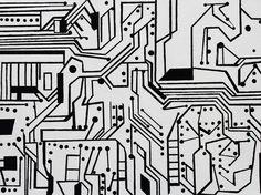 "Saatchi Online Artist: Jean Alexander Frater; Acrylic 2004 Painting ""circuit board 5"""