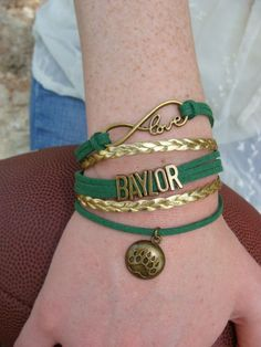 Baylor Bears love infinity boho wrap bracelet