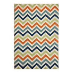 Multi coloured chevron rug