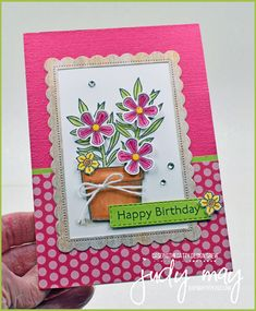 Stampin' Up! Basket of Blooms | Judy May, Just Judy Designs, Melbourne Happy Birthday Cakes, Stampin Up, Bloom, Basket, Paper Crafts, Melbourne, Frame, Cute, Flowers