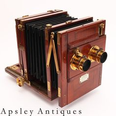 Meagher, Patrick. C.1870 Stereo Brass & mahogany half plate tailboard camera. www.fgphotographica.com