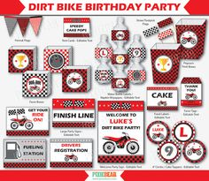 Dirt Bike Party Motorcycle Birthday Motocross by PixieBearParty