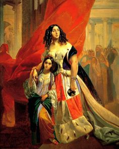 """russian-painting: """" Karl Pavlovich Bryullov - Portrait of Countess Yulia Pavlovna Samoilova, withdrawing from a ball with Amacilia Paccini (her adopted daughter), Oil on canvas, 249 x Russian Painting, Russian Art, Painting Art, Russian Icons, Figure Painting, Postcard Art, Free Art Prints, Oil Painting Reproductions, Samara"""