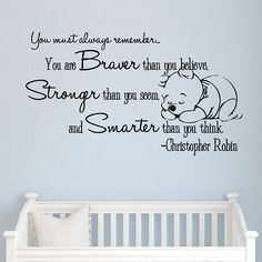 This perfect Quote Wall Vinyl Decal will be a great addition to any interior. Wall Decals Quote - Winnie the Pooh - Vinyl Stickers - Nursery Decor - Wall Decal Nursery - Kids Room - Bedroom SM160 OUR WALL DECALS: - will apply to smooth, flat surfaces - are removable - are not reusable